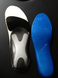 A Sidas footbed with a more usual example of cycling shoe insoles